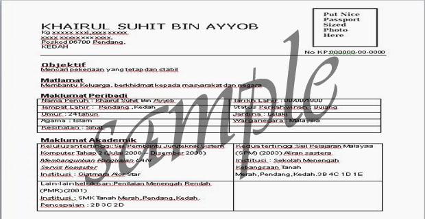 contoh resume bahasa melayu contoh resume