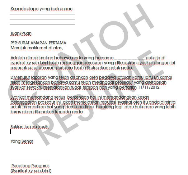 Contoh Surat Amaran Contoh Resume