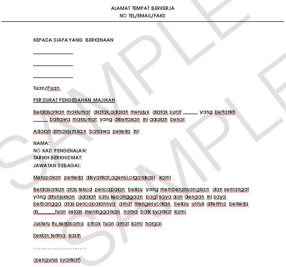 Contoh Surat Pengesahan Dari Majikan Contoh Resume