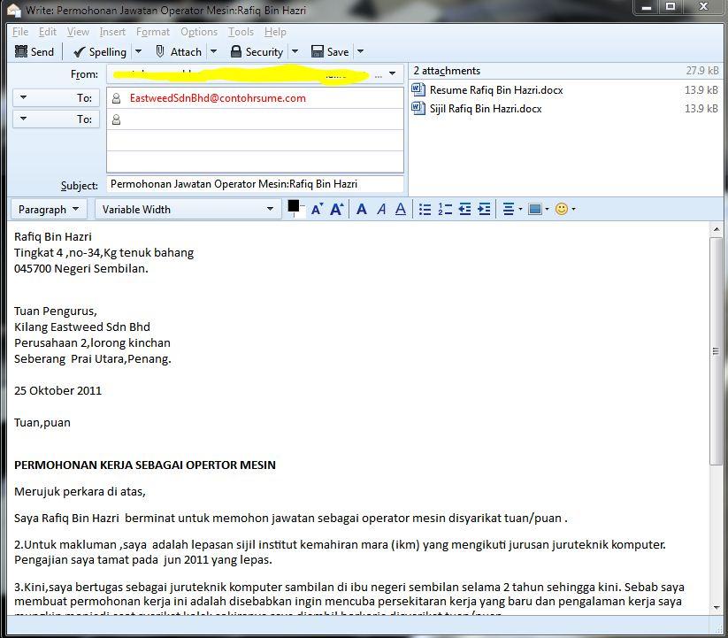 Bagaimana Menghantar Email Resume Dan Surat Permohonan Kerja Contoh Resume